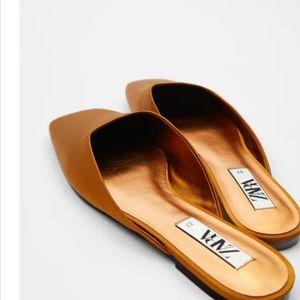 New Zara Satin finish Flats sandals shoes